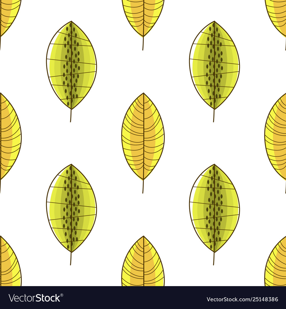 Green and yellow forest leaves seamless pattern