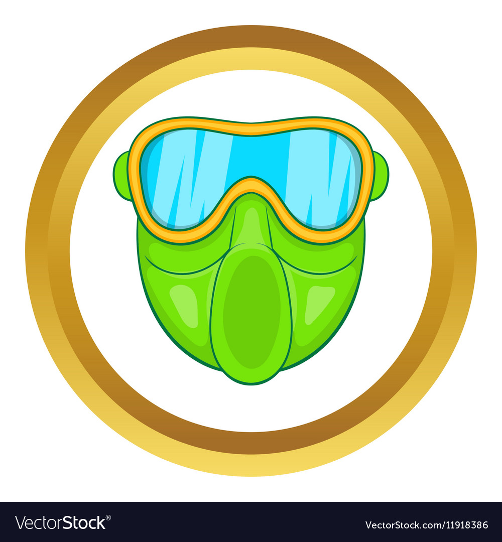 Green paintball mask icon