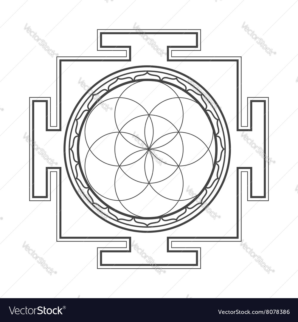 Monochrome outline seed of life yantra