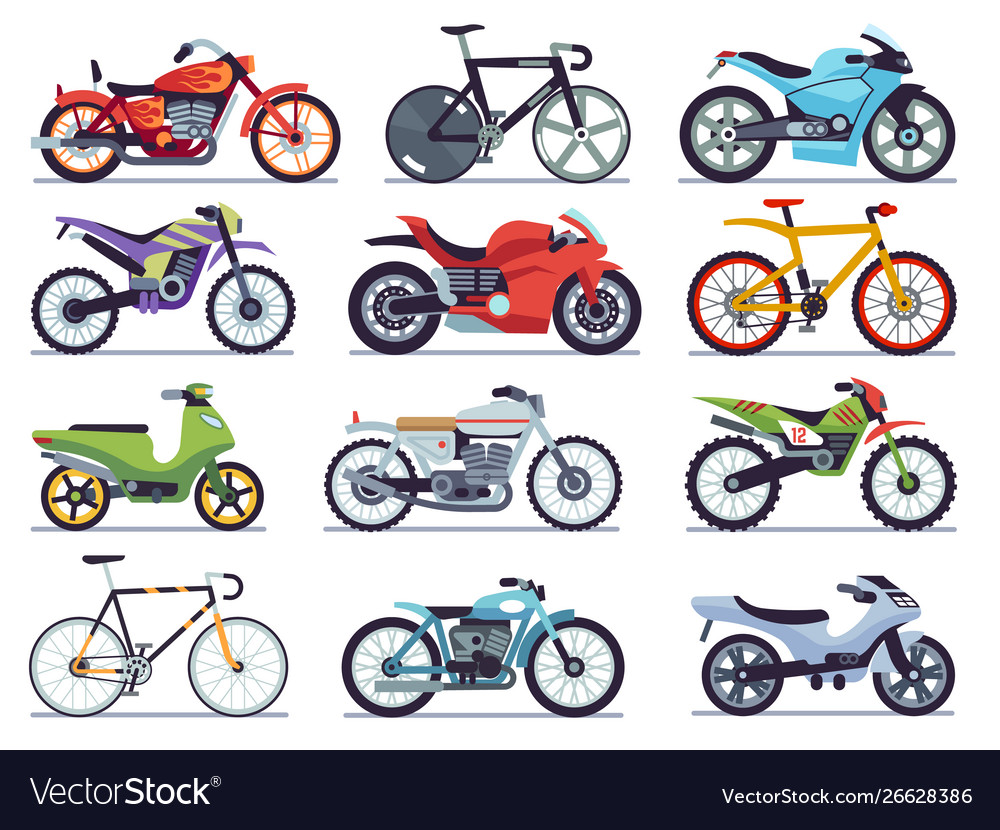 Motorbike set motorcycles and scooters bikes and