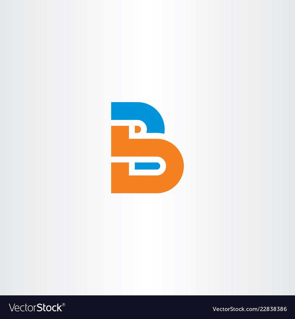Orange blue b letter logotype icon symbol