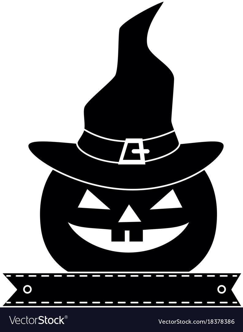 Pumpkin hallooween with hat witch decorative icon