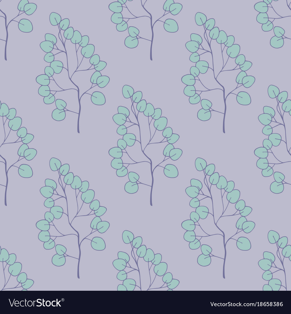 Seamless pattern with plants on a purple