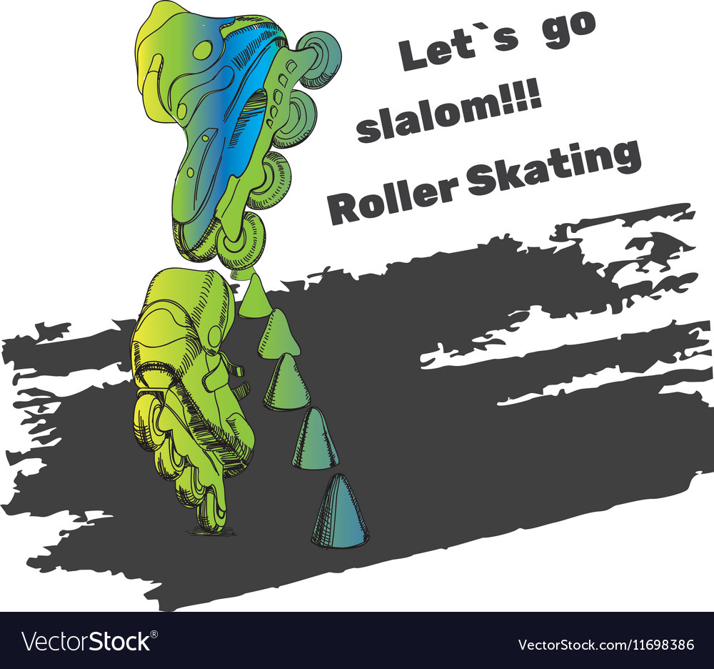 Set for Roller Skates with text Isolated logo