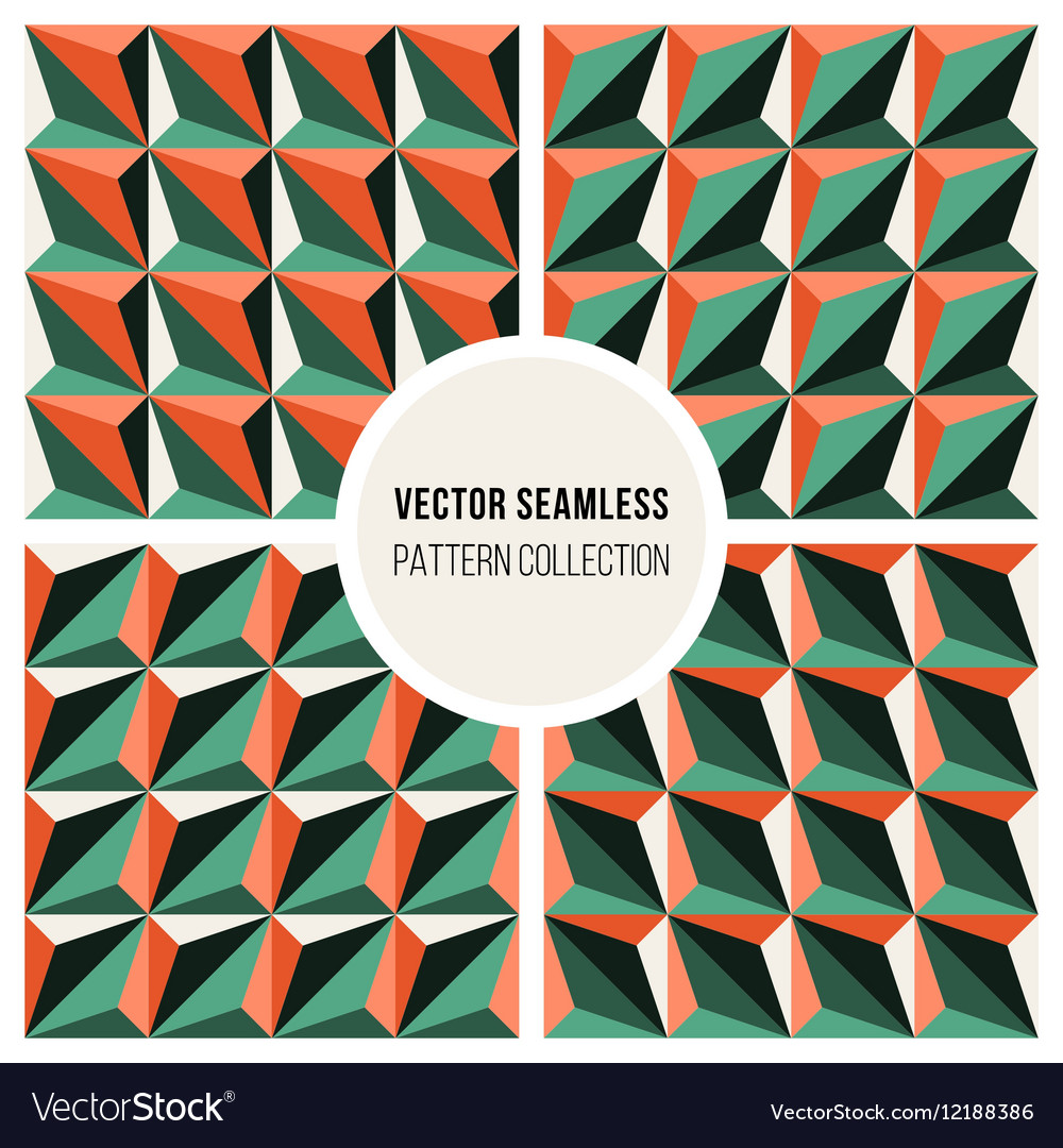 Set of Four Seamless Geometric Triangle