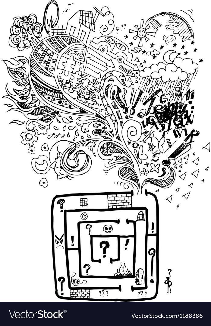 Sketchy doodle confused maze vector image