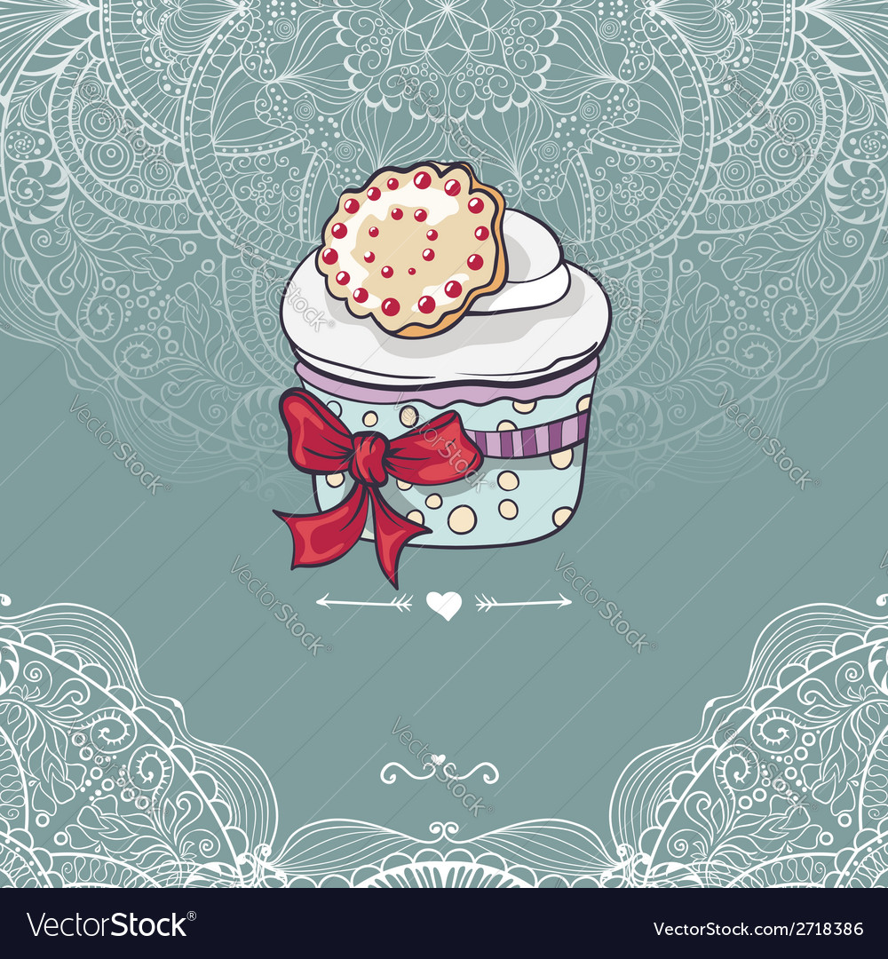 Vintage invitation card with a cupcake