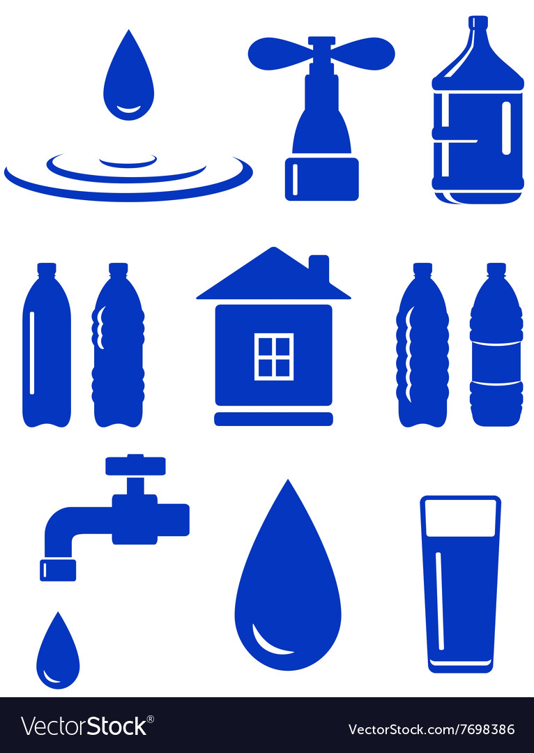 Water set of icon with house faucet drop bottle