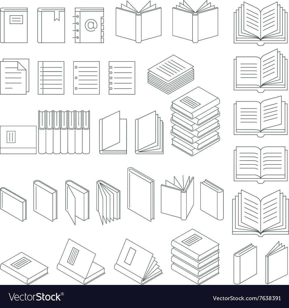Book line icons set