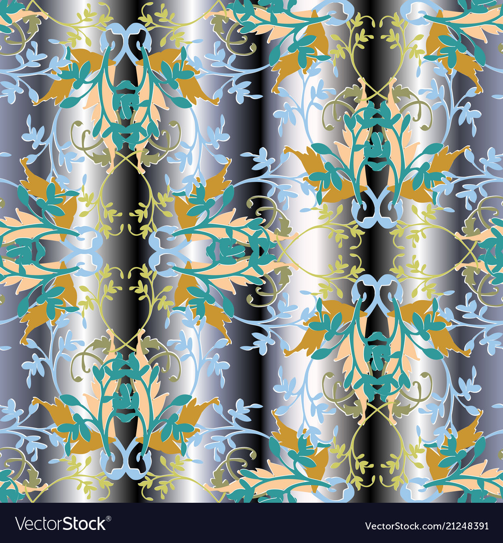 Branches with leaves seamless pattern