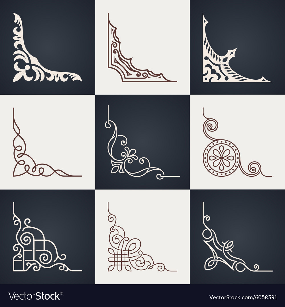 Calligraphic design elements Vintage corners set