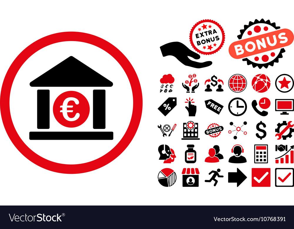 Euro Bank Flat Icon with Bonus