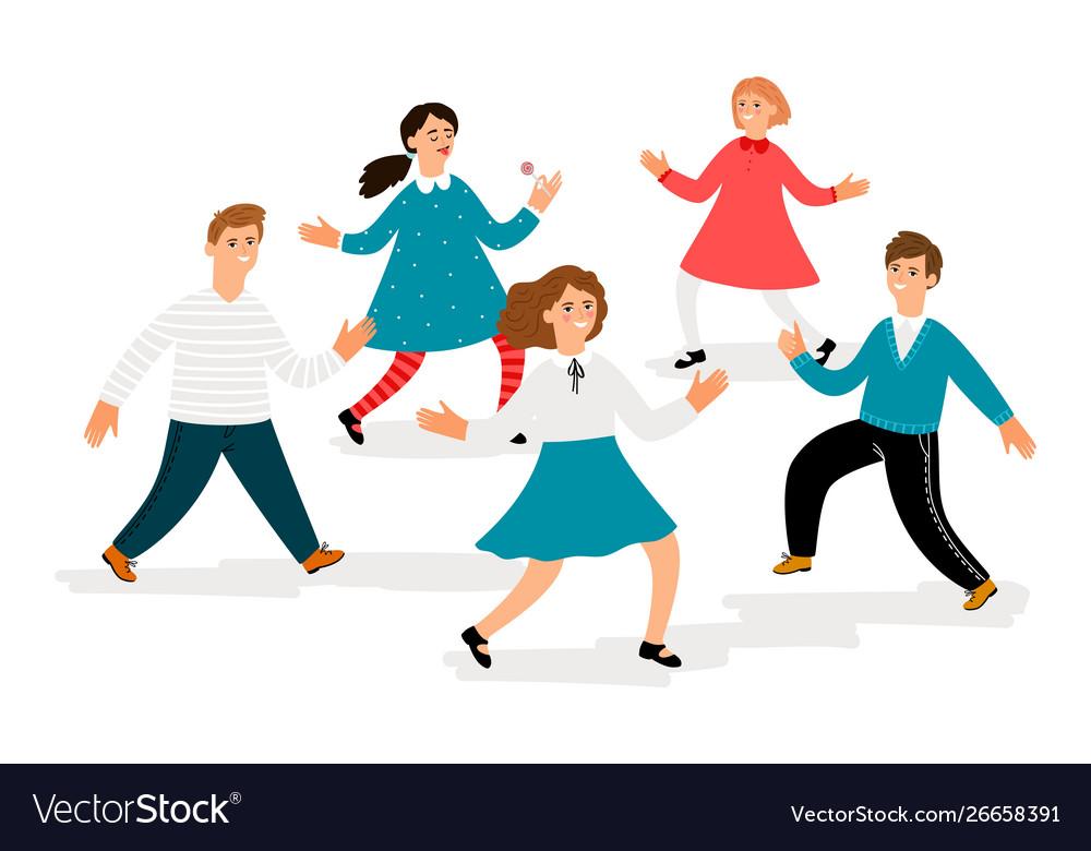Happy children characters cute school kids