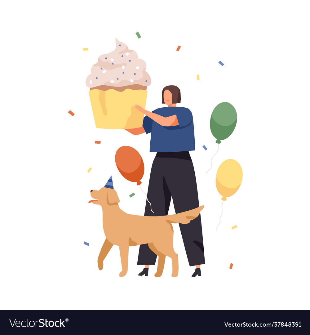 Happy woman and dog with huge cake for birthday