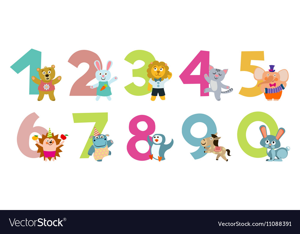 Kids numbers with cartoon animals Royalty Free Vector Image