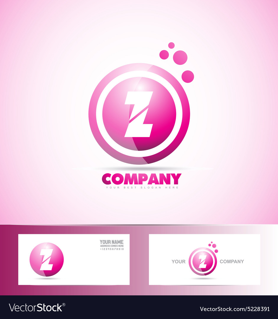 Letter Z pink sphere circle logo icon