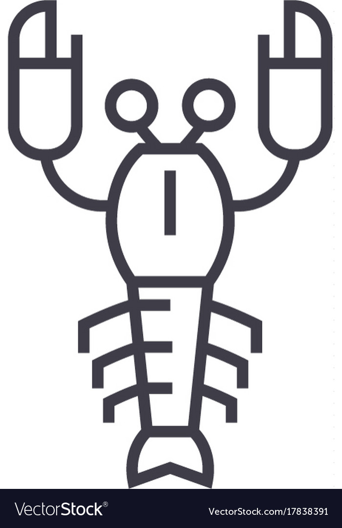 Lobster line icon sign on