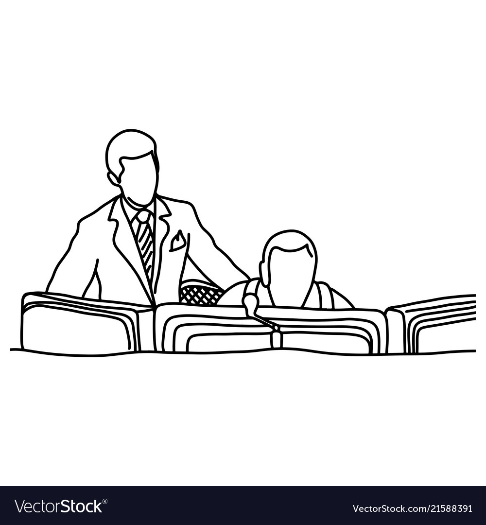 Manager assisting his co-worker in computer room