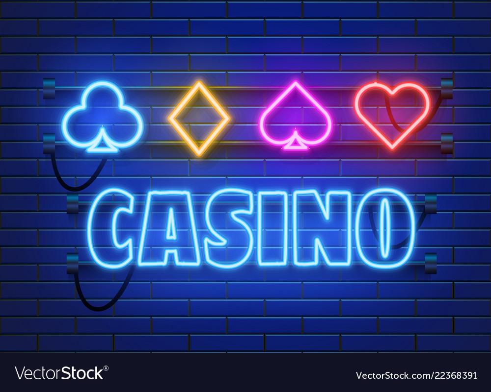 Neon lamp casino banner on wall background poker