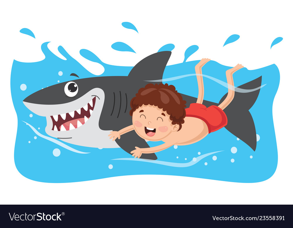 Of kid swimming with shark