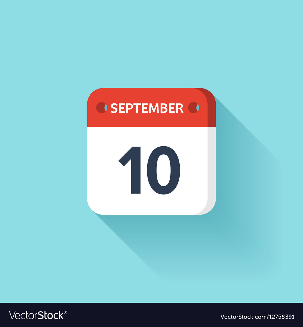 September 10 Isometric Calendar Icon With Shadow