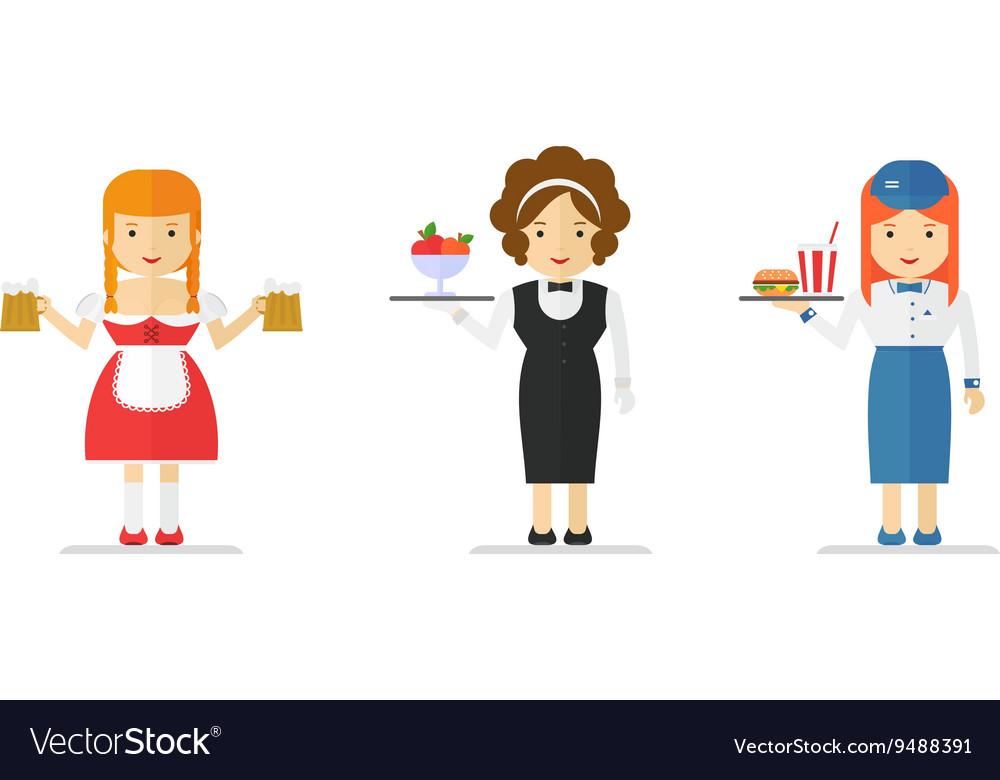Set of waitress vector image