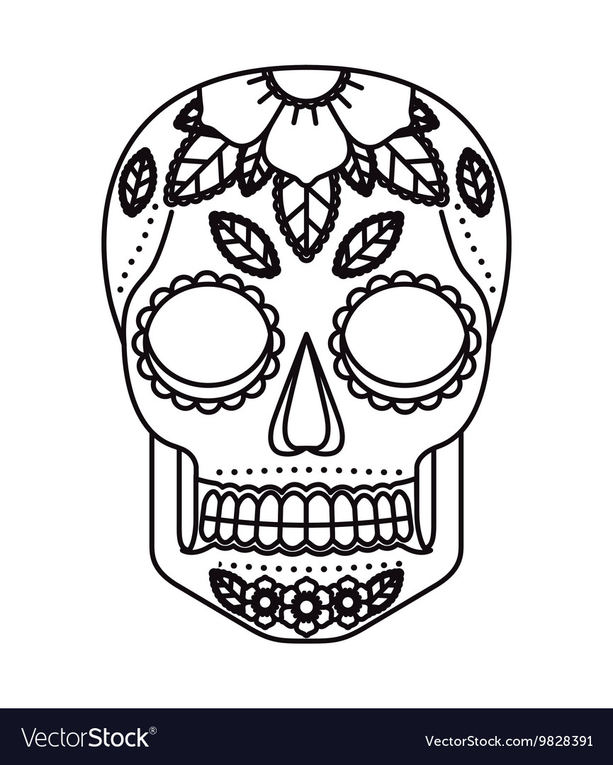 Skull and flowers tattoo isolated icon design