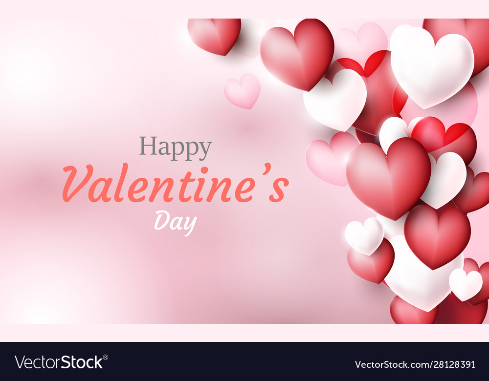 Valentines day background red and white 3d hearts