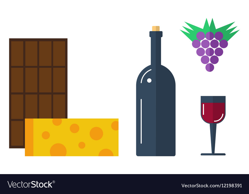 Vine with chocolate and cheese vector image