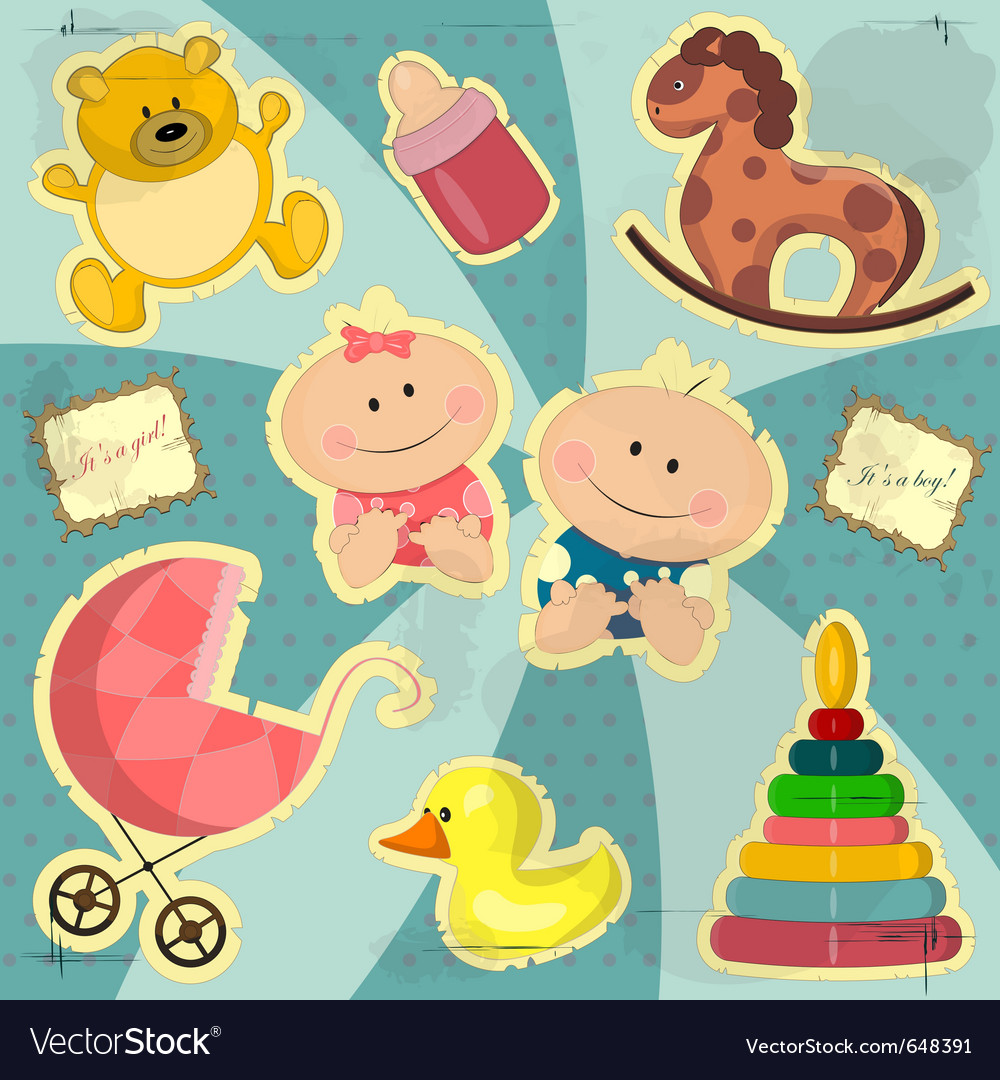 Vintage card for baby girl and boy vector image