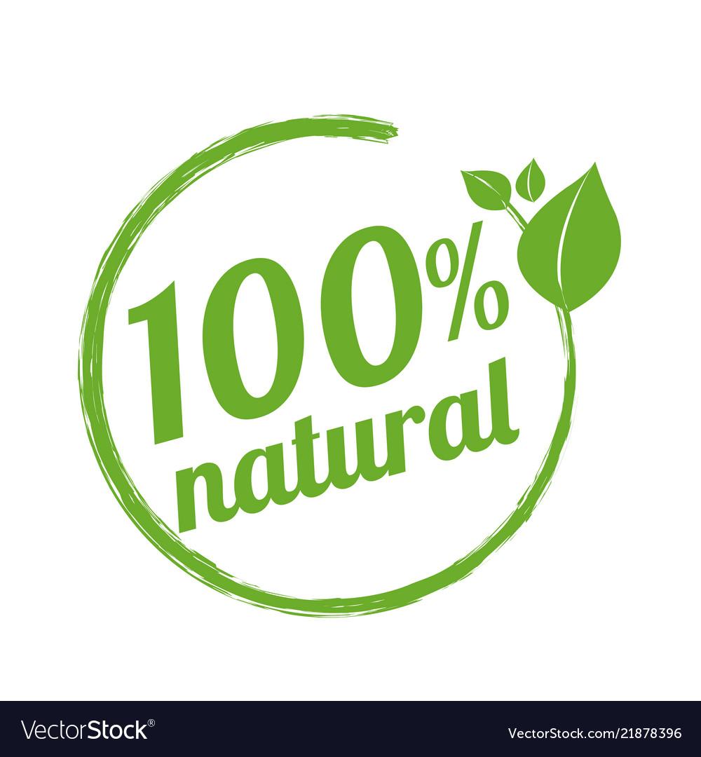 100 natural logo symbol