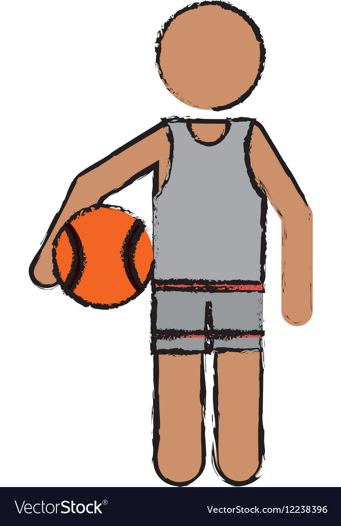 Drawing character player basketball