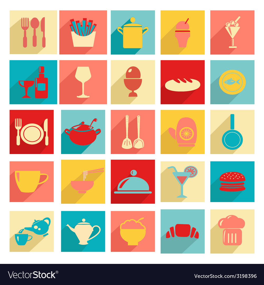 Flat design Restaurant and dining icons Silhouett vector image