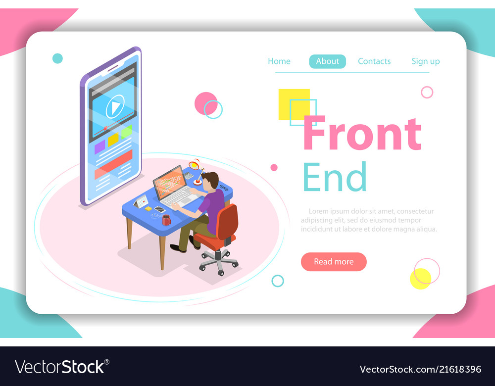 Front end flat isometric concept vector