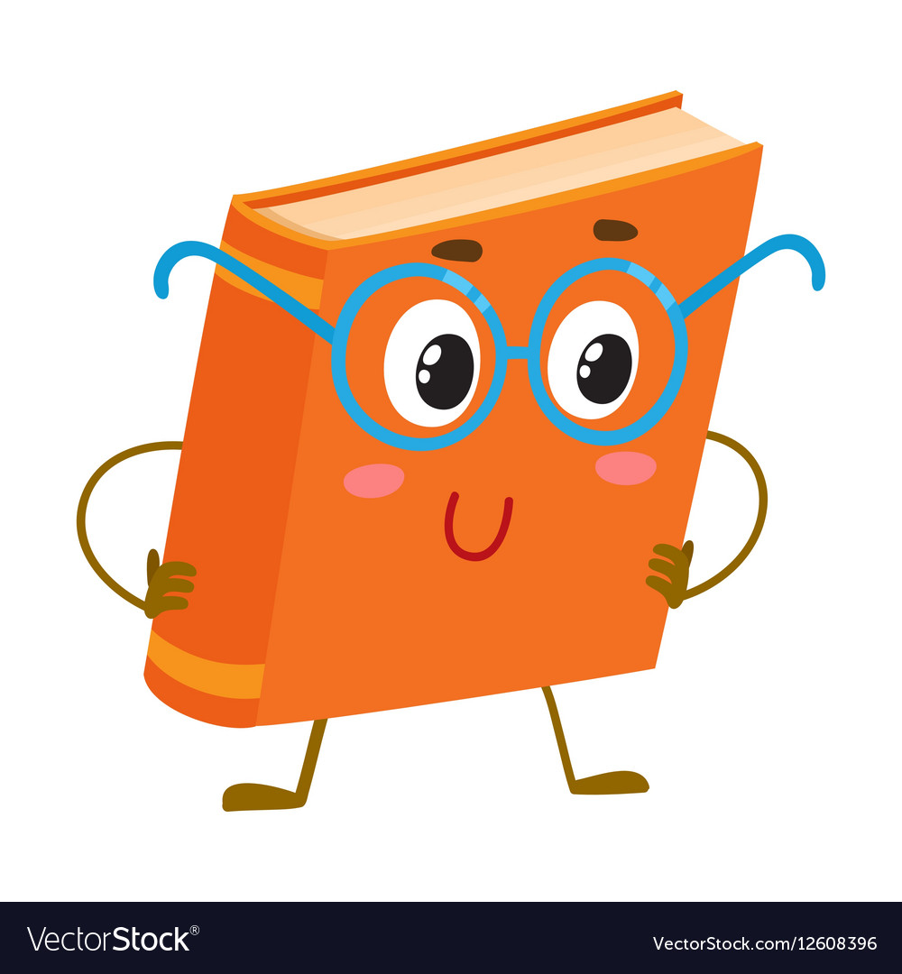 Funny orange book character in round blue nerdish vector image