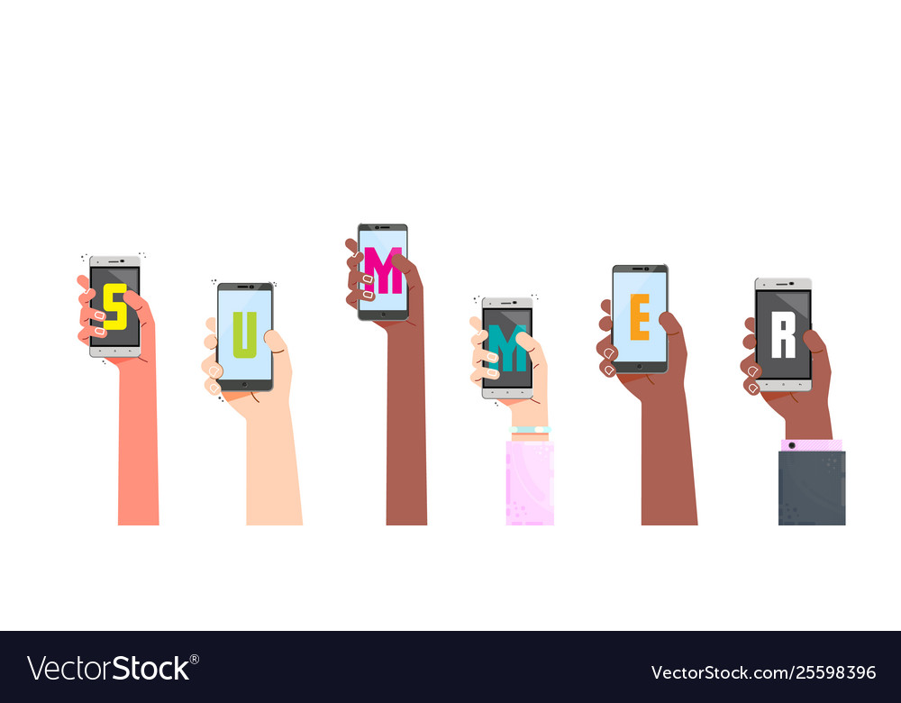 Male and female hands holding phones with the