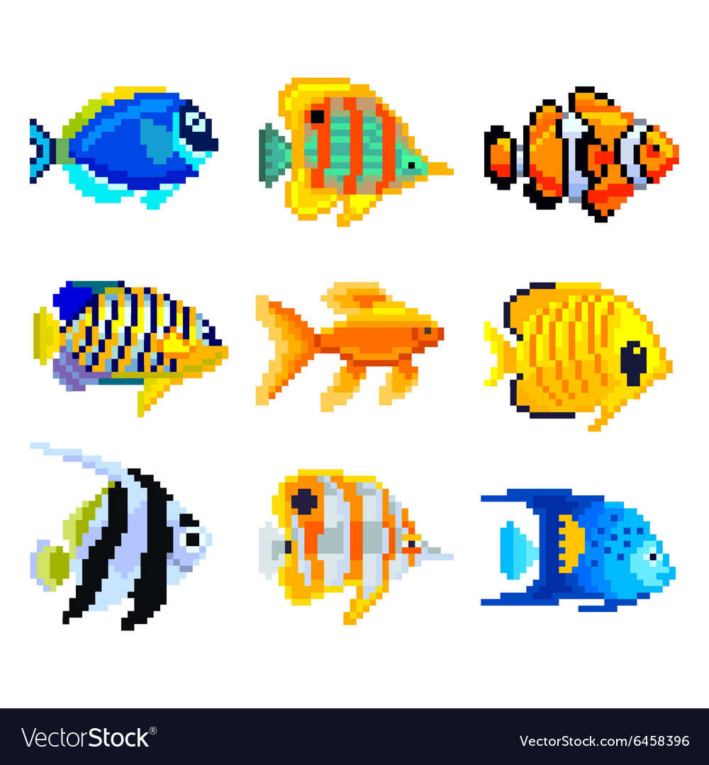 Pixel exotic fish for games icons set