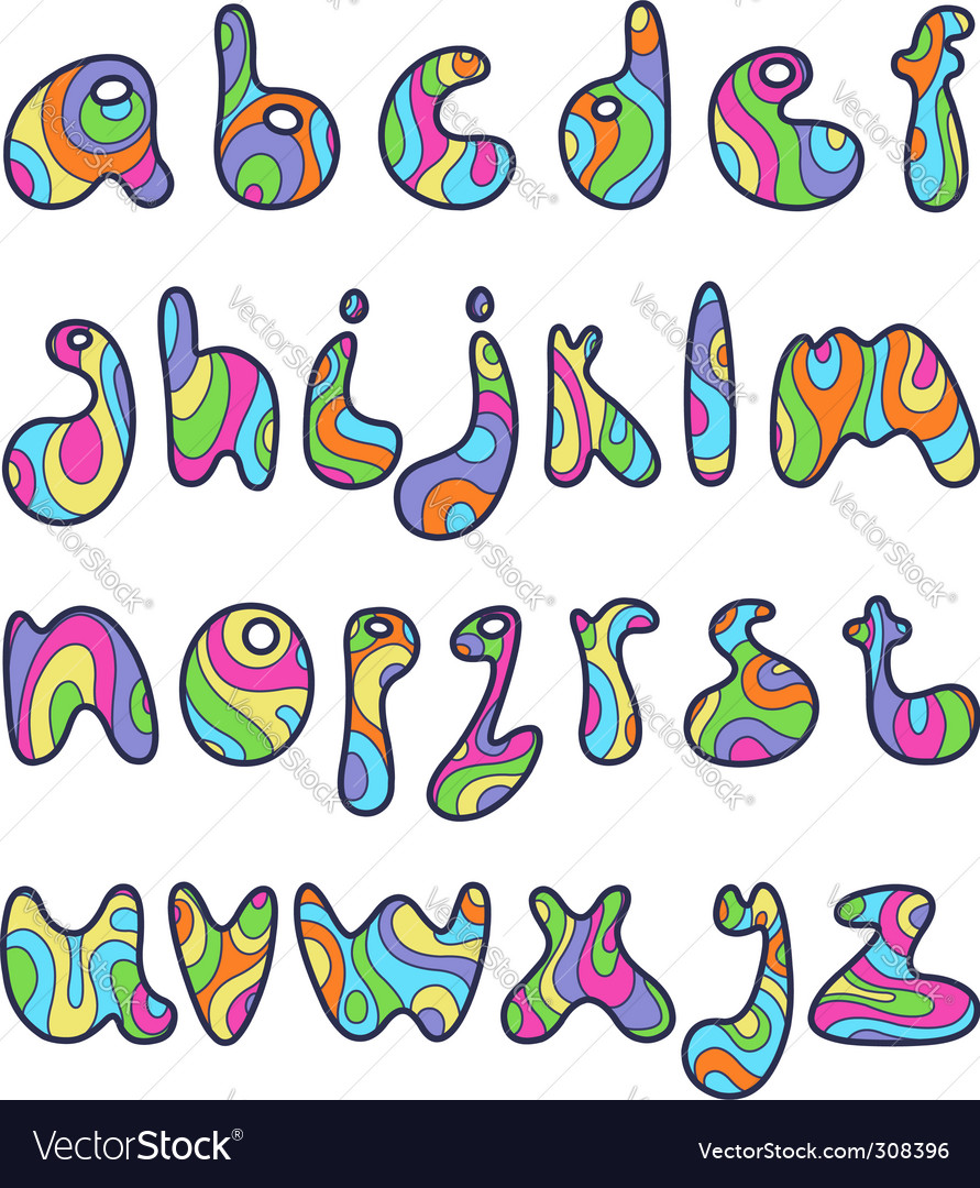 psychedelic alphabet letters royalty free vector image rh vectorstock com vector letters photoshop vector letters online