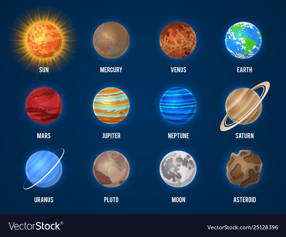 Solar system cartoon planets cosmos planet galaxy vector image - Galaxy and planets ...