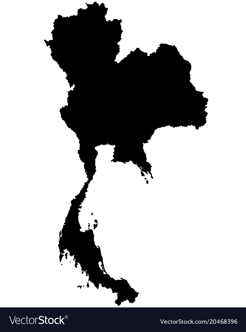 Thailand map outline Royalty Free Vector Image