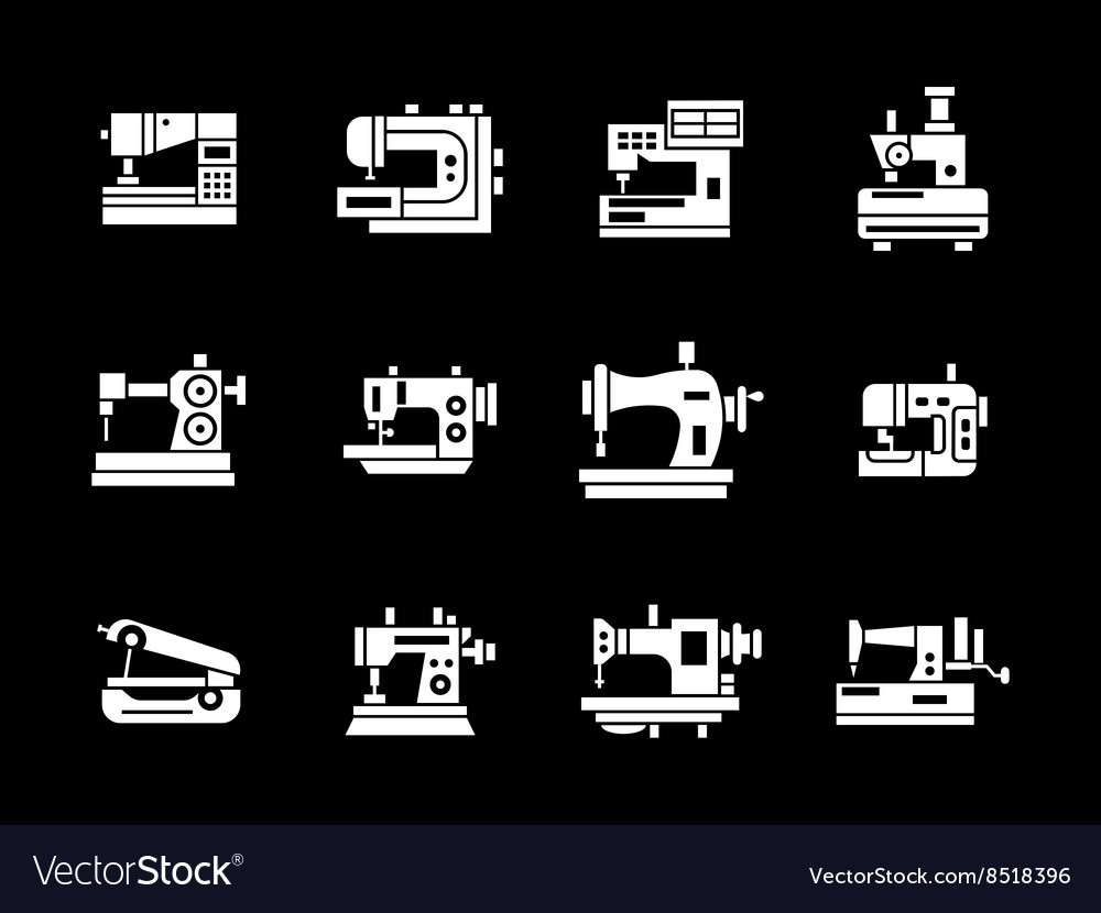 White glyph style sewing machine icons set