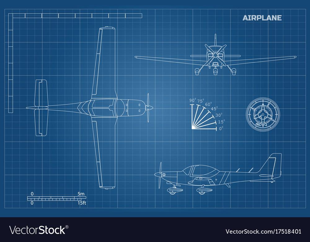 Engineering blueprint of plane sport airplane vector image malvernweather Image collections
