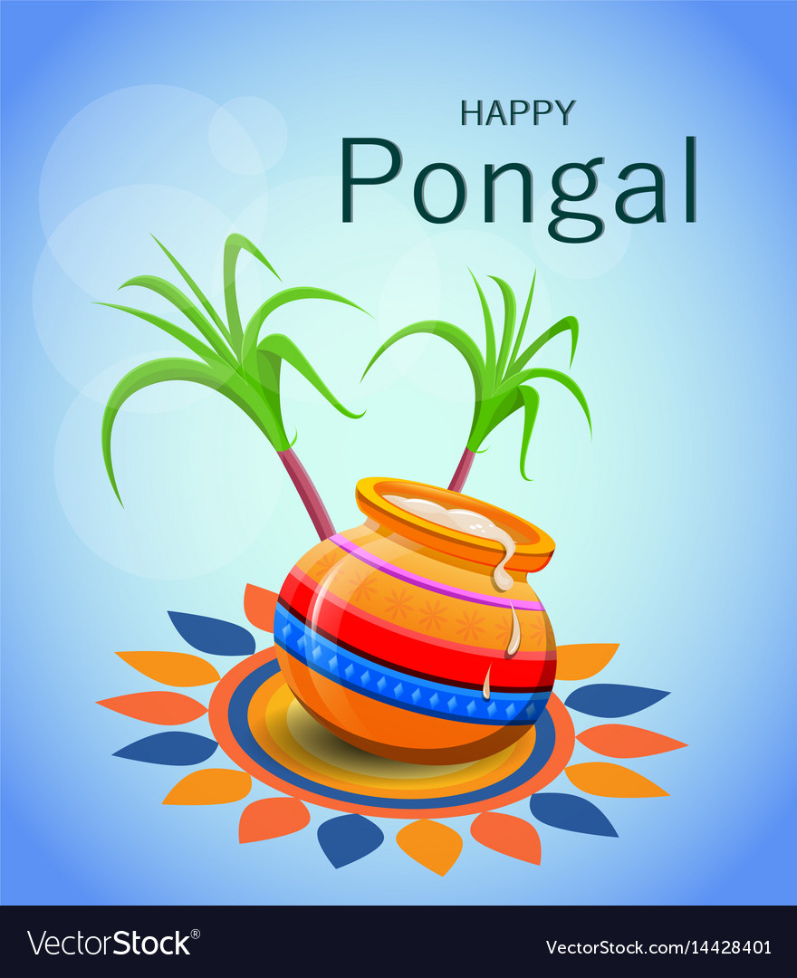 Happy pongal greeting card on blue background vector image m4hsunfo