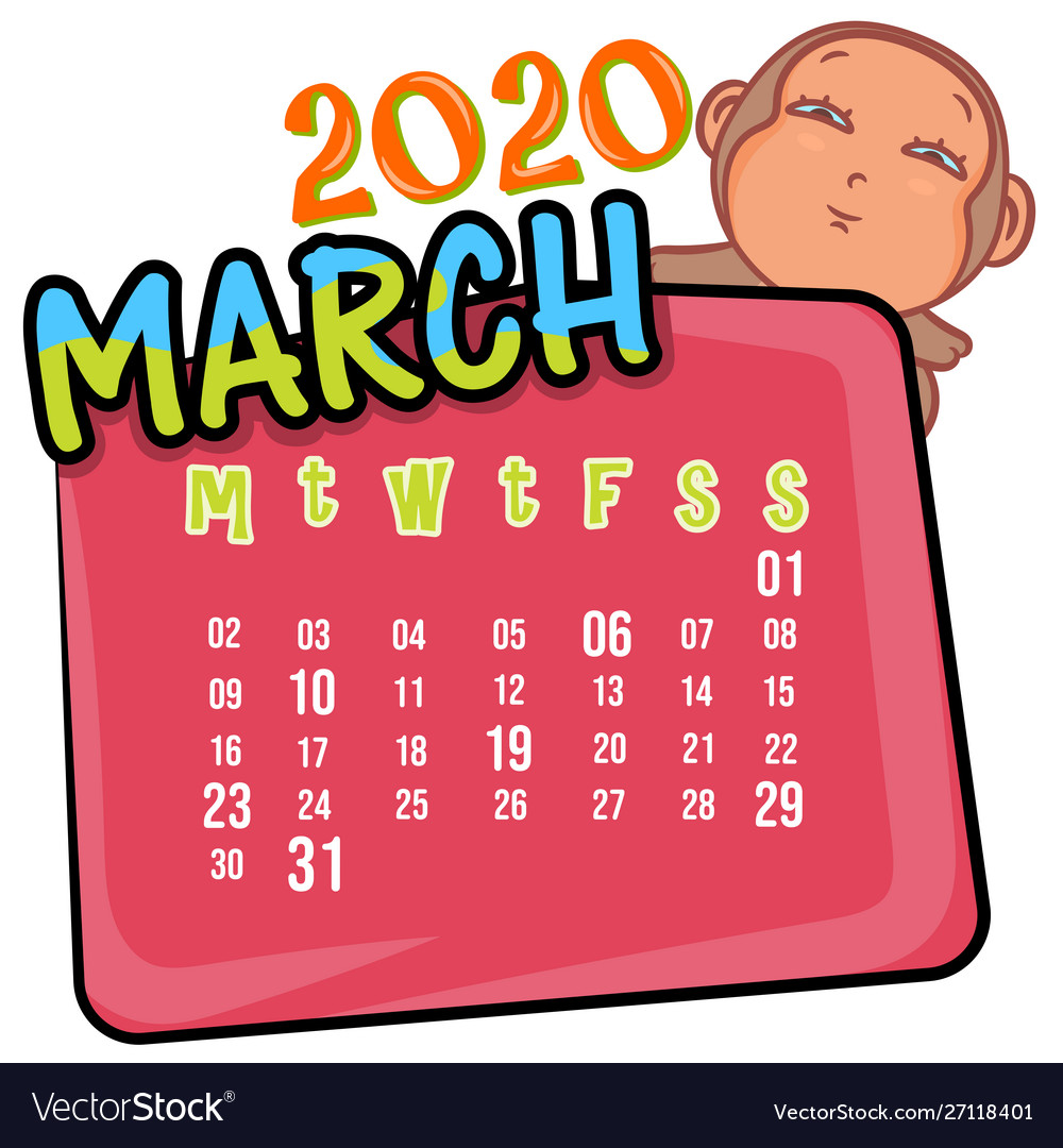 March 2020 month calendar
