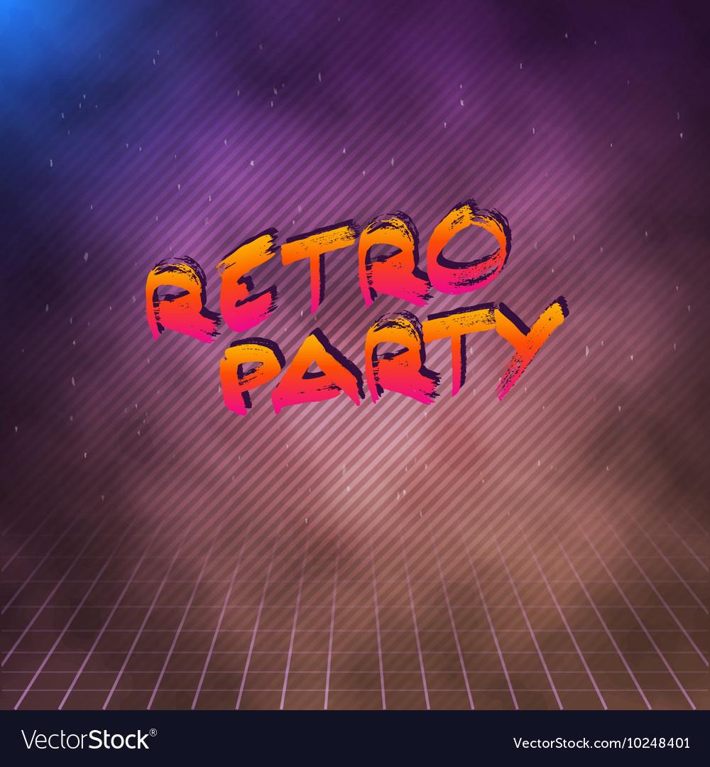 Retro Party 1980 Neon Poster Retro Disco 80s