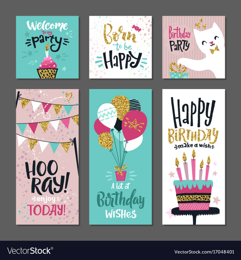 Set of greetings cards invitation for birthday