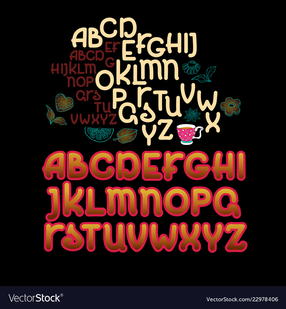 Abc letters hand drawn minimalist alphabet