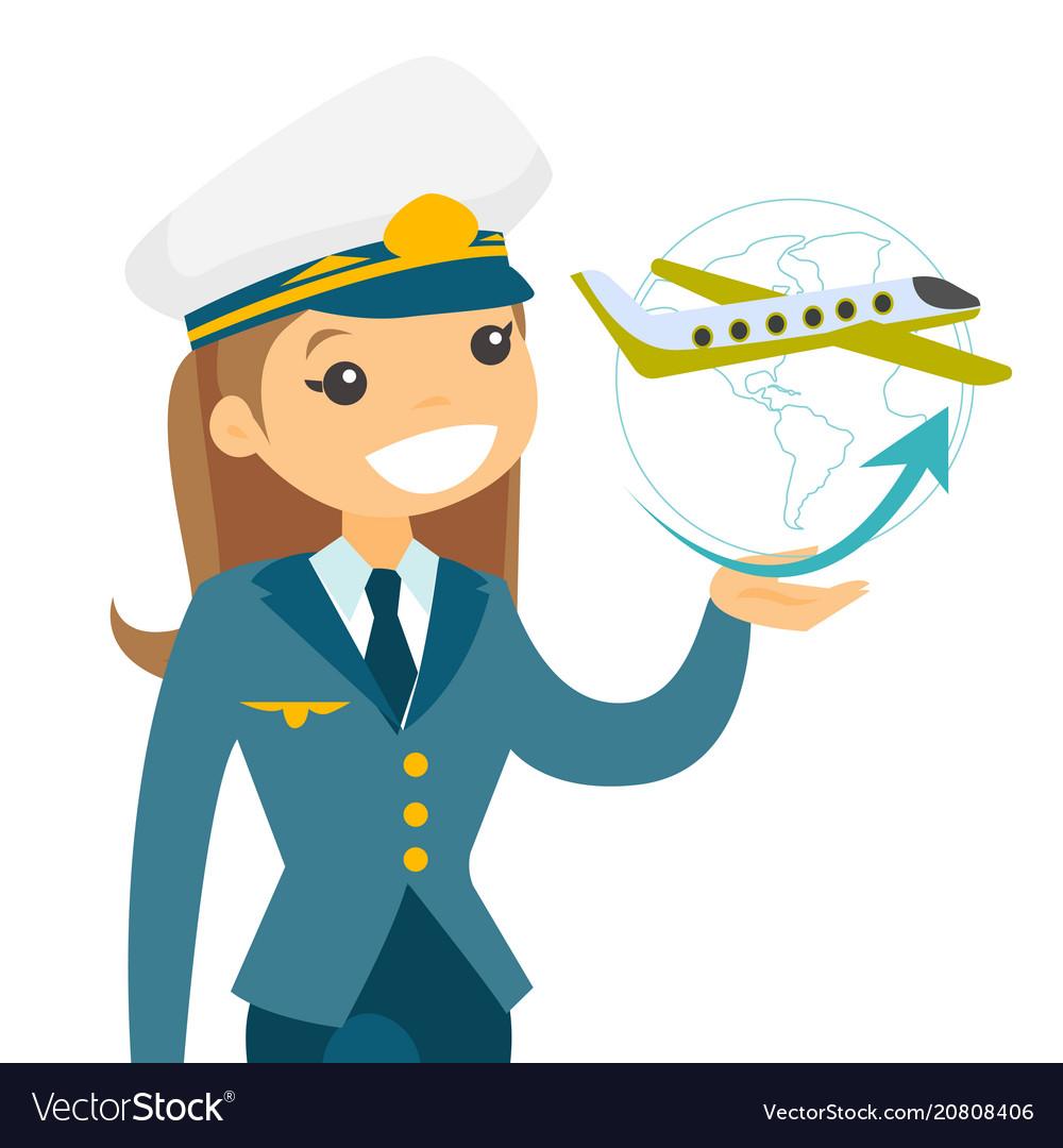 Airplane captain in pilot hat