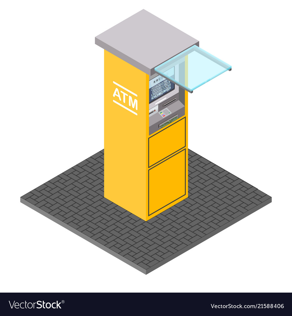 Atm machines in isometric style bank
