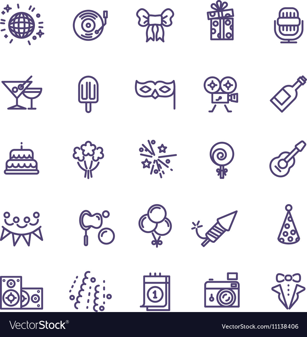 Birthday party celebration fun line icons vector image